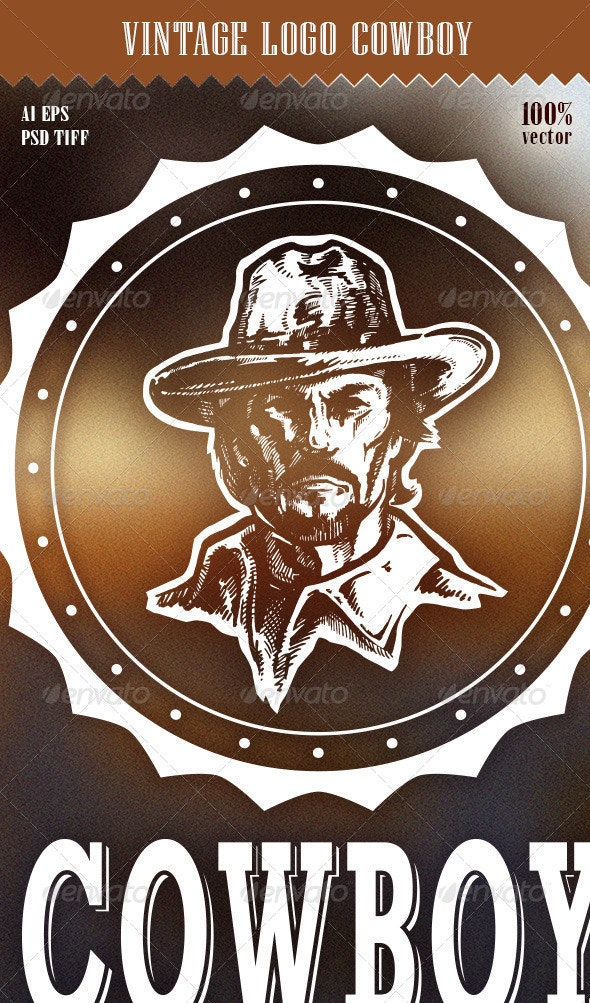 Vintage Logo Cowboy - Badges & Stickers Web Elements