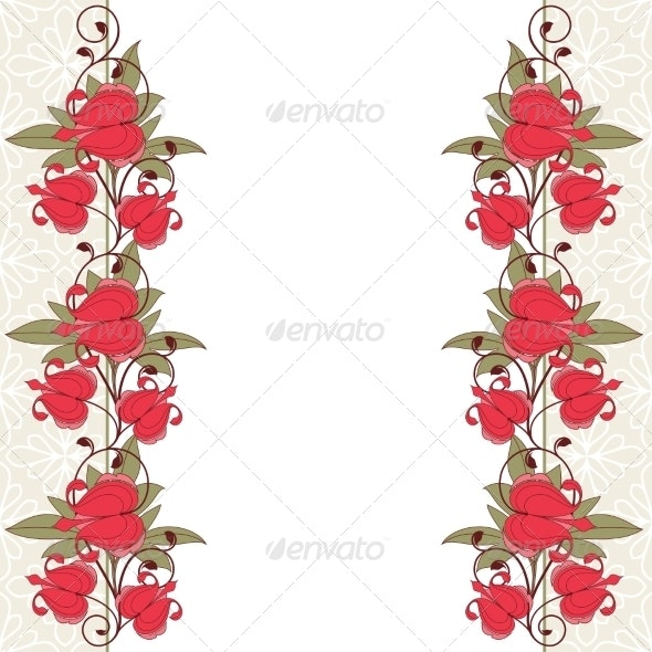 Invitation Card with Flowers. - Backgrounds Decorative