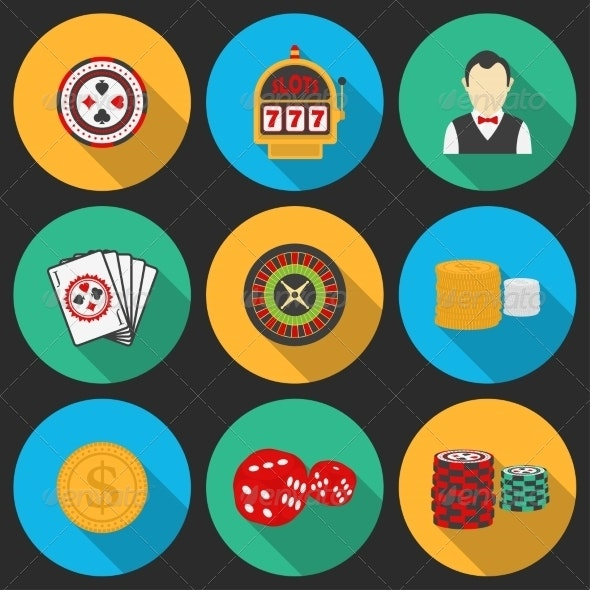 Colorful Icon Set on a Casino Theme.  - Web Elements Vectors