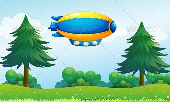 An Airship near the Hilltop - Flowers & Plants Nature
