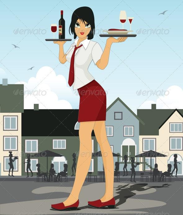 Restaurant Waiter - Characters Vectors