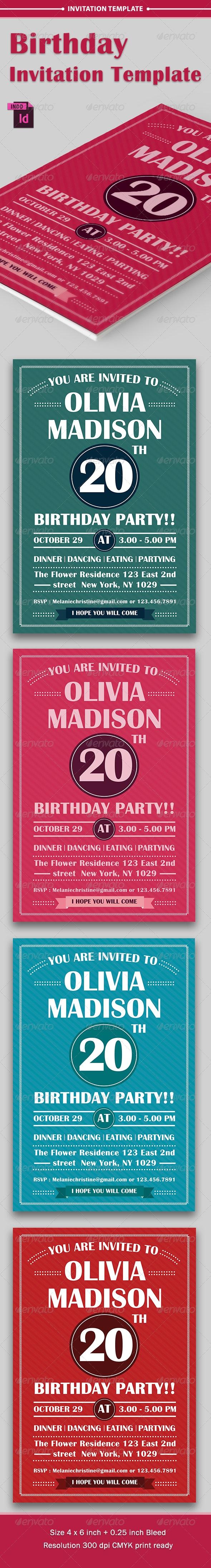 Birthday Party Invitation Template - Vol . 2 - Invitations Cards & Invites