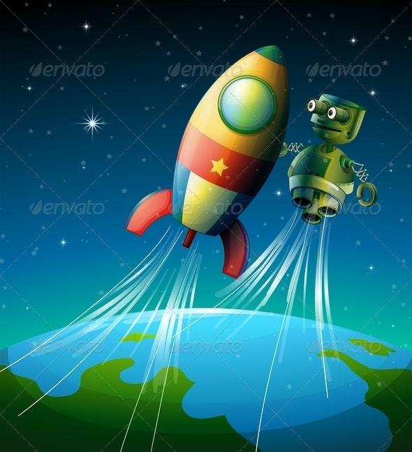 Robot beside Spaceship - Technology Conceptual