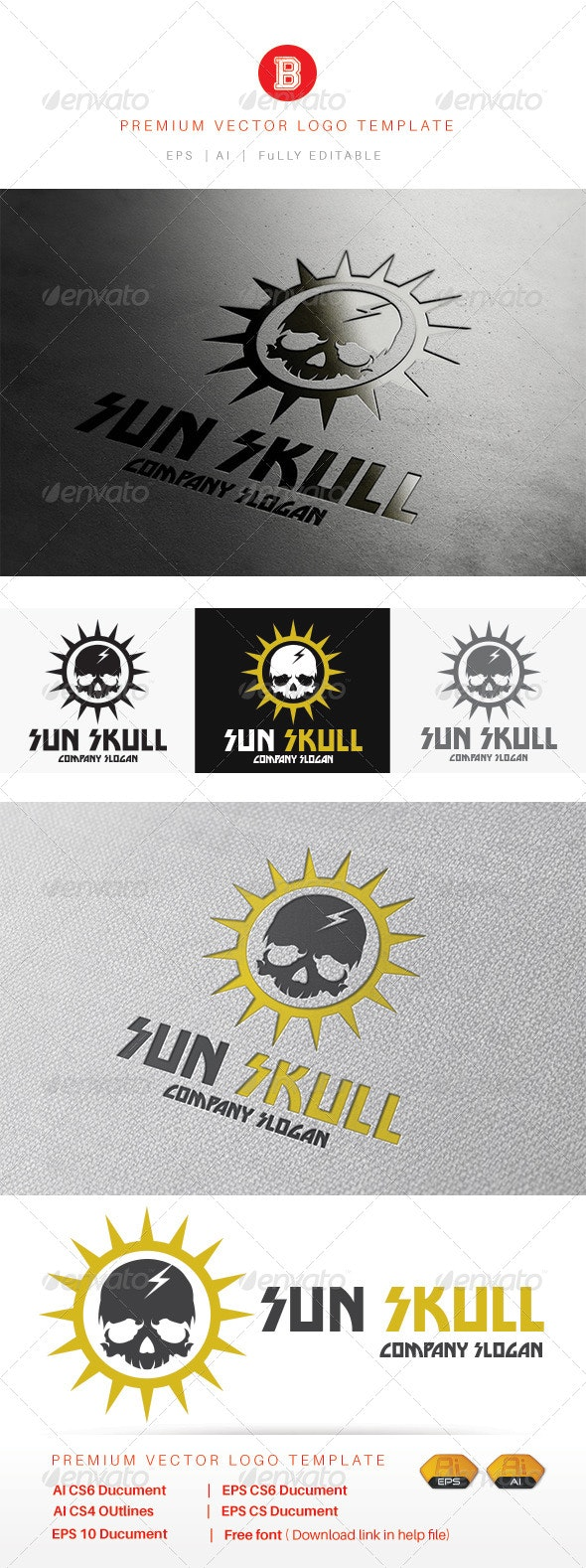 Sun Skull - Humans Logo Templates