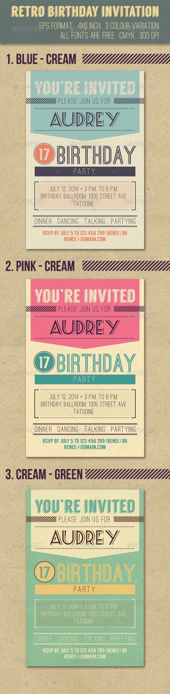 Retro Birthday Invitation - Invitations Cards & Invites
