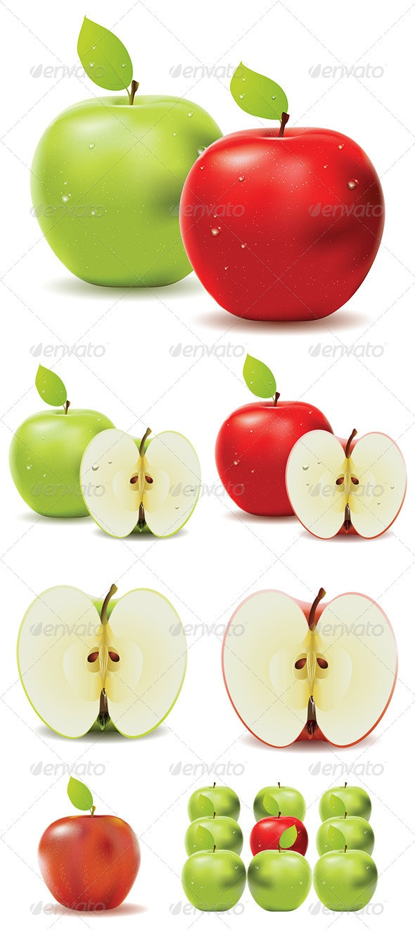 Green Apple and Red Apple - Food Objects