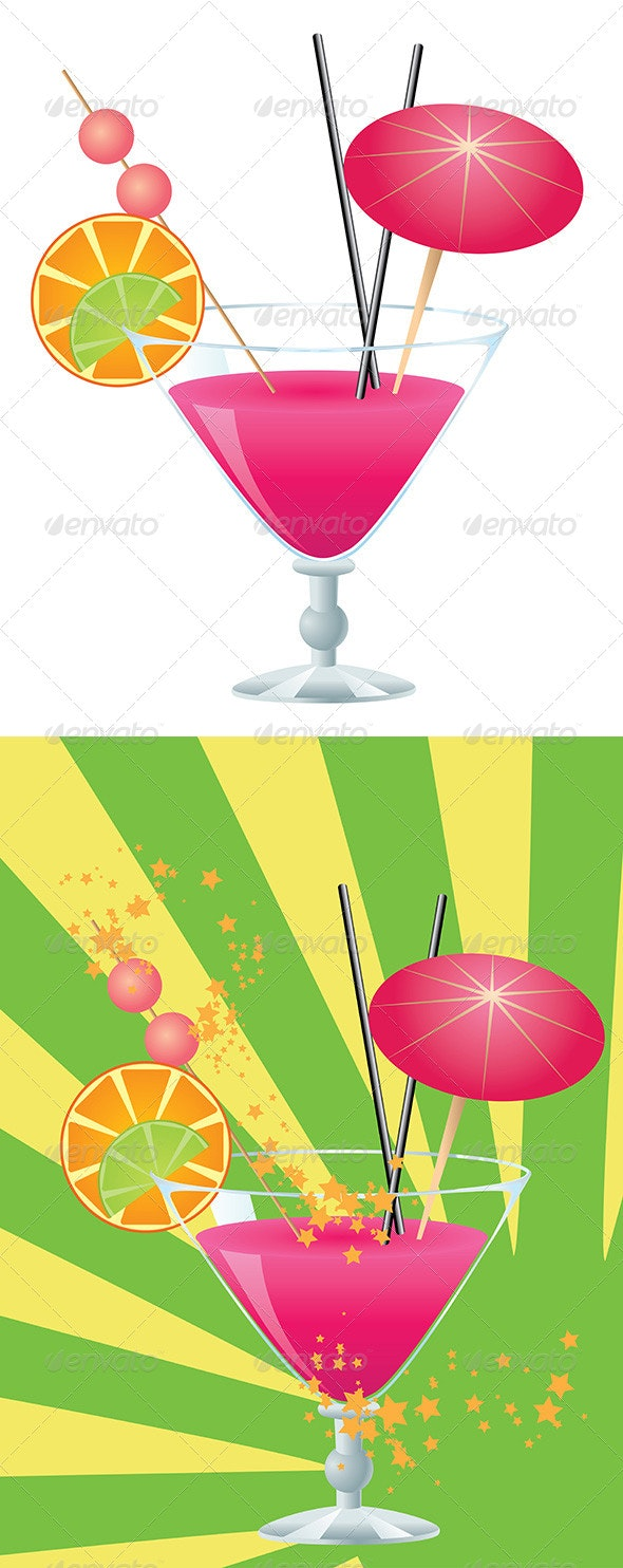 Pink Cocktail - Food Objects