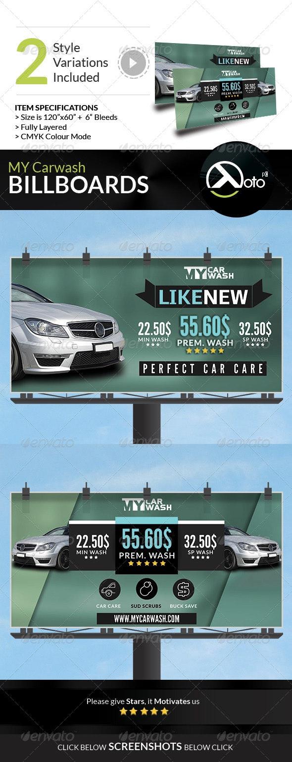 MY Automobile Carwash Service Billboards - Signage Print Templates