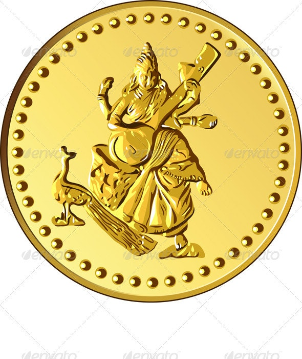 Vector Money Gold Coin with the image of Shiva - Backgrounds Business