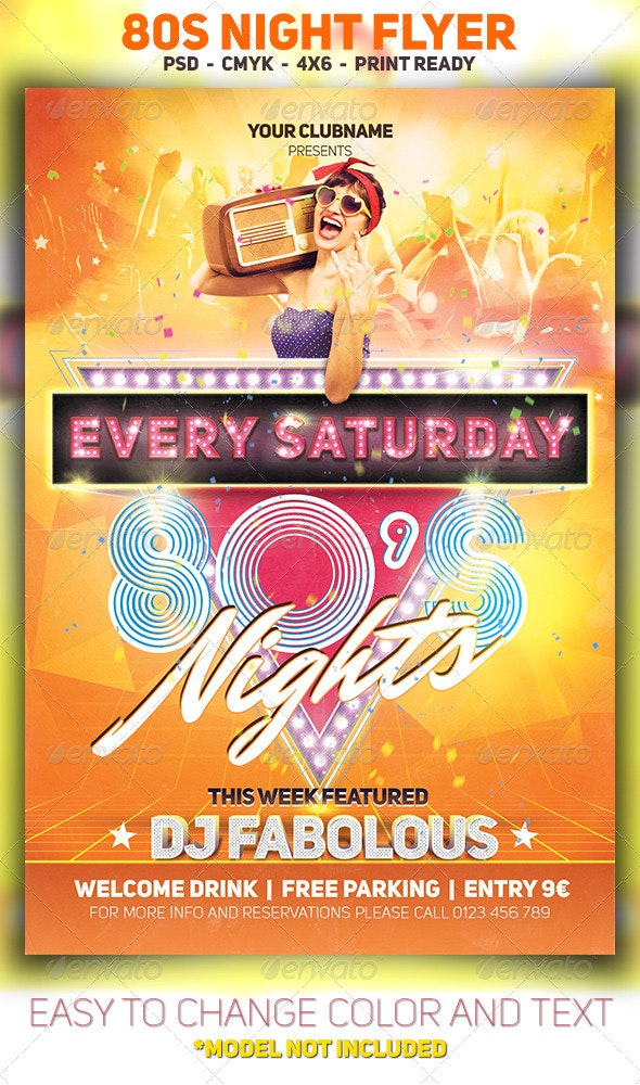 80s Night Flyer - Clubs & Parties Events