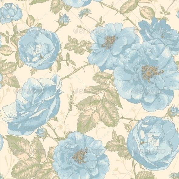 Beautiful Vintage Seamless Roses Background - Patterns Decorative