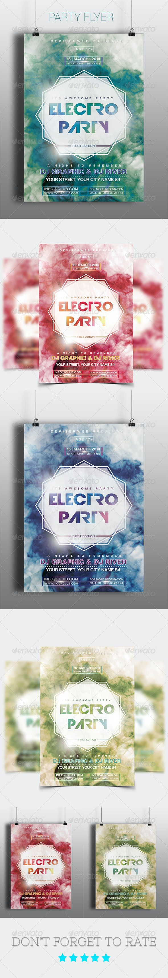 Futuristic Electro Party Flyer Templates - Clubs & Parties Events