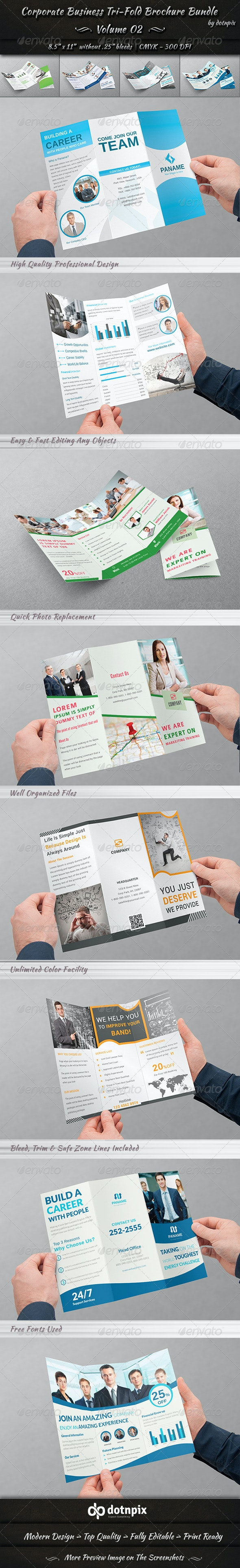 Corporate Business Tri-Fold Brochure Bundle | v2 - Corporate Brochures