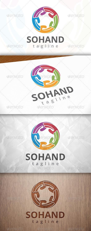 Social Hand Logo - Vector Abstract