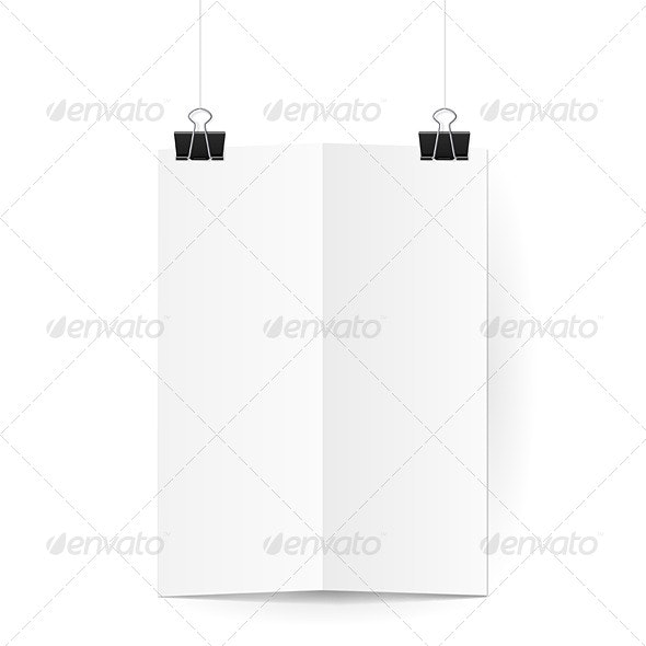 Sheet of Paper Folded in Two Hanging on Clips - Man-made Objects Objects