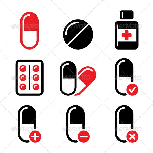 Red and Black Medication Icons Set