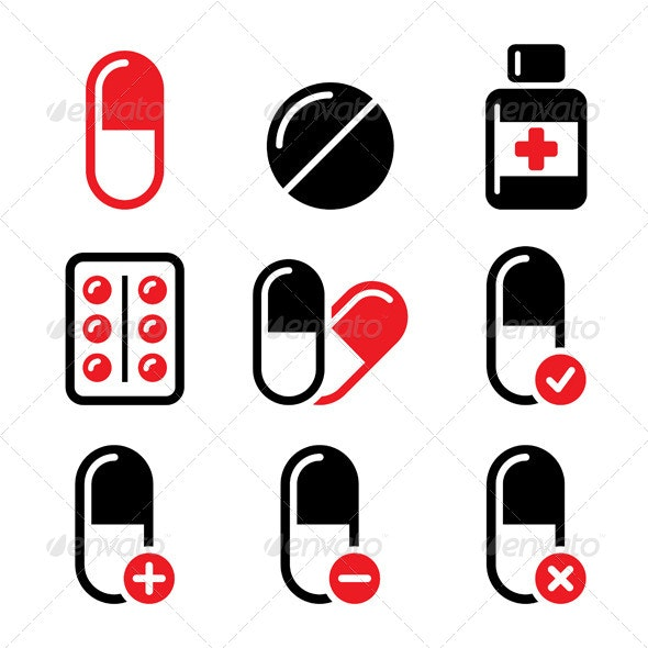Red and Black Medication Icons Set   - Health/Medicine Conceptual