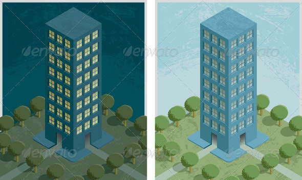 Residential Building Night and Day - Miscellaneous Vectors
