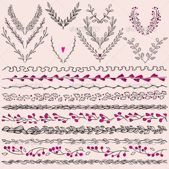 Floral  Design Elements  and Lines Border