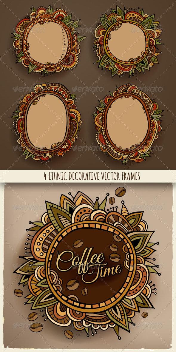 4 Ethnic Decorative Frames - Borders Decorative