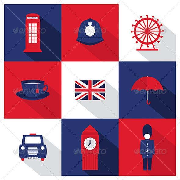 Vector London City Flat Icons With Long Shadow