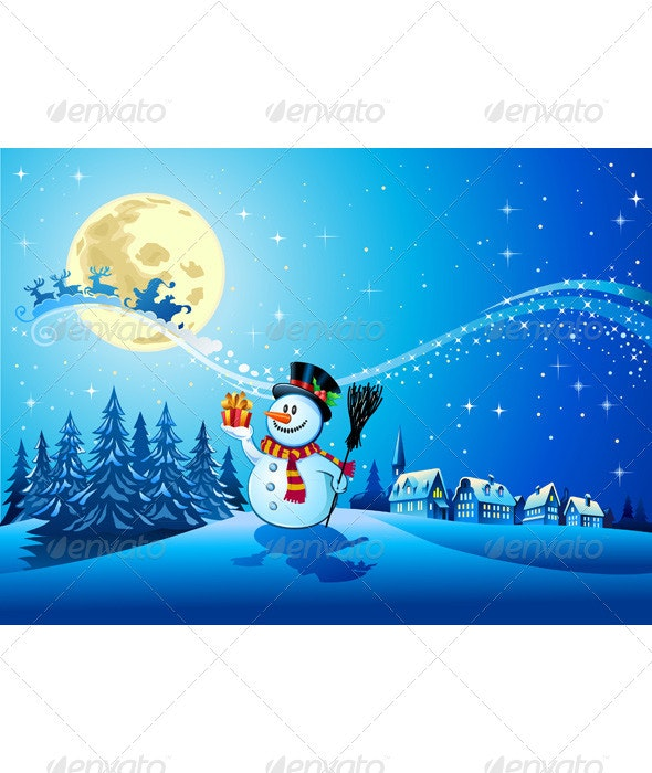 Snowman with the gift 3 - Christmas Seasons/Holidays