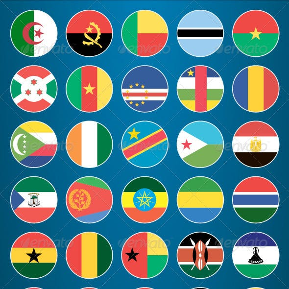 Flat Flag Icons African Countries