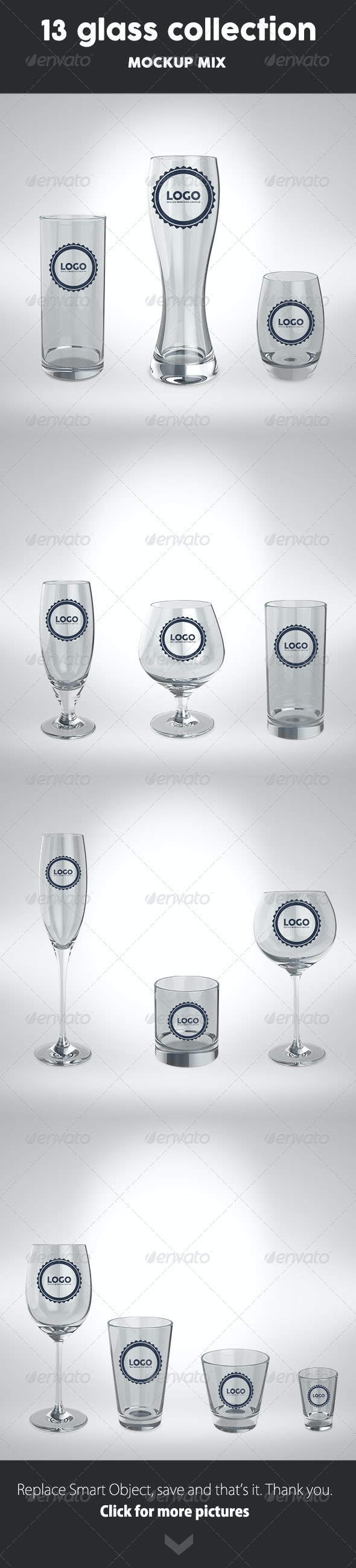13 Glass Collection Mock Up - Food and Drink Packaging