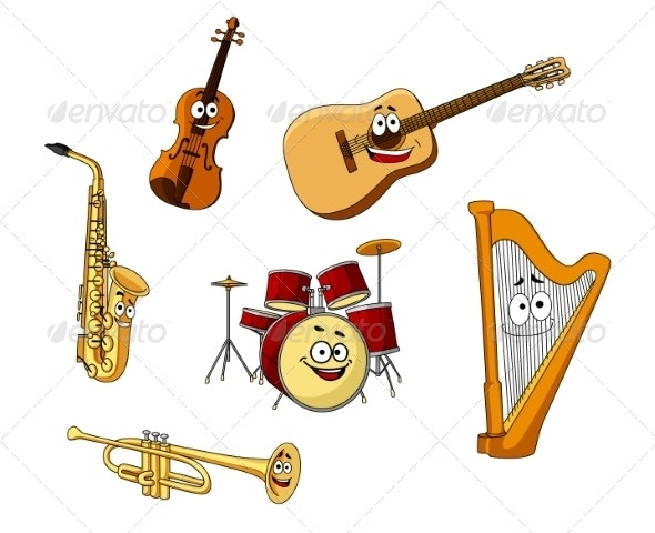 Set of Classic Musical Instruments - Man-made Objects Objects