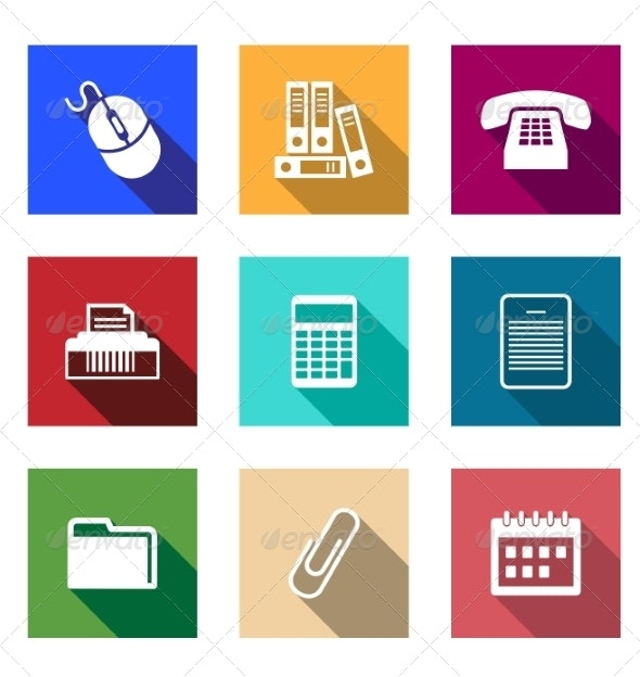 Flat Office Supply Icons - Web Technology