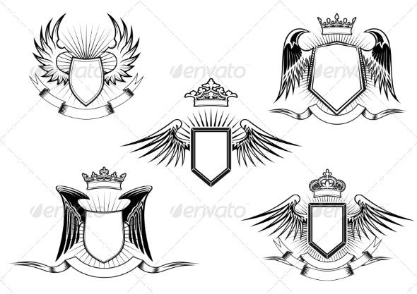 Set of Heraldic Winged Shields - Decorative Symbols Decorative