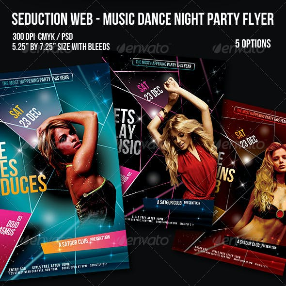 Seduction Web - Music Dance Night Party Flyer