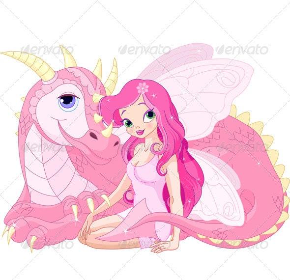 Magic Dragon and Fairy - Characters Vectors