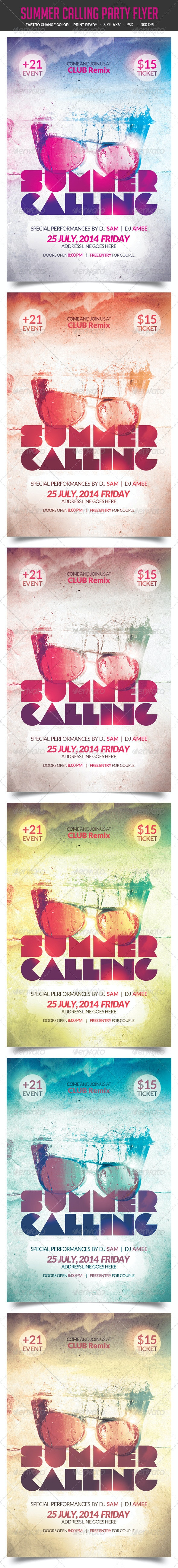 Summer Calling Party Flyer - Clubs & Parties Events
