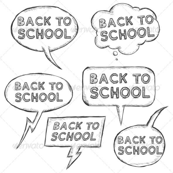 Vector Set of Sketch Bubbles - Back to School. - Miscellaneous Conceptual