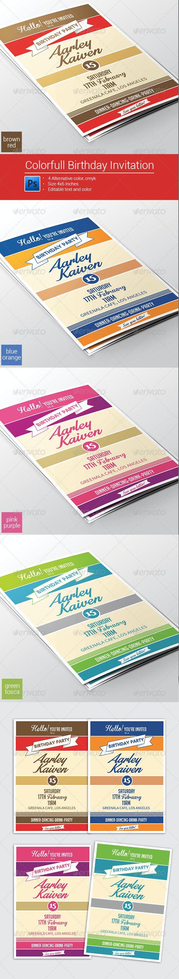 Colorfull Birthday Invitation - Invitations Cards & Invites