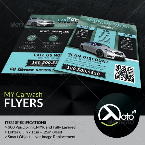 MY Automobile Carwash Service Flyers