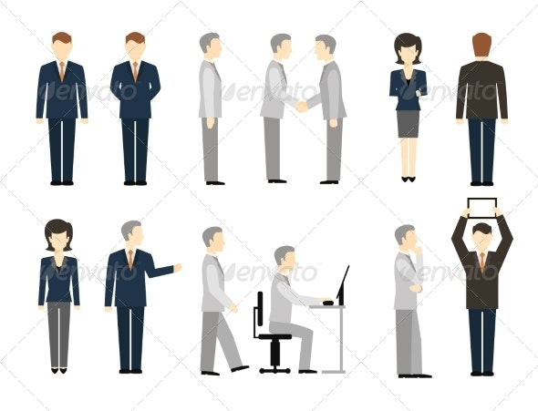 Business Peoples in Different Poses - People Characters