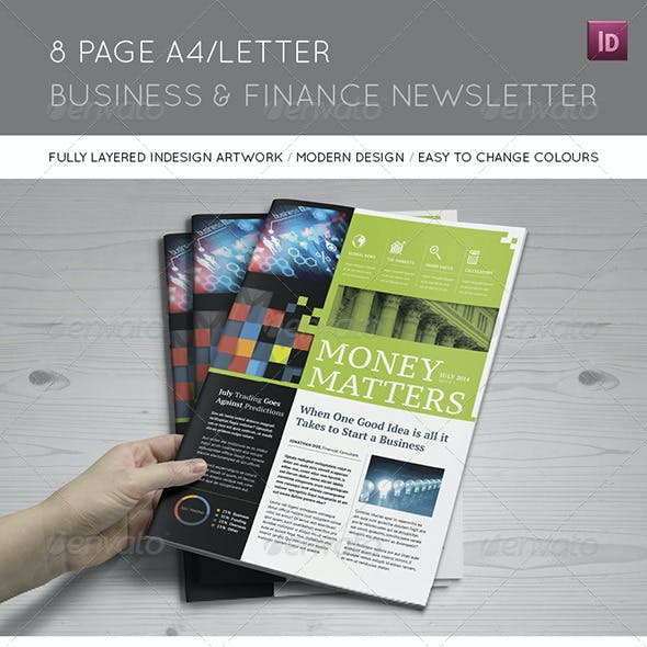 8 Page A4/Letter Business and Finance Newsletter