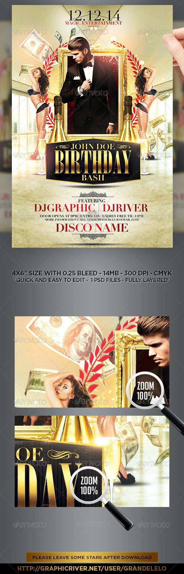 Classy Birthday Bash Flyer Template - Clubs & Parties Events