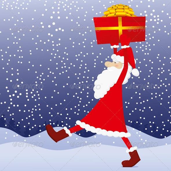 Santa Claus With Gift - Characters Vectors