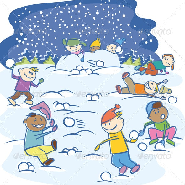 Vector Kids Playing Snowballs - Characters Vectors