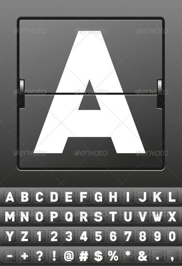 Vector Mechanical Scoreboard Alphabet - Decorative Vectors