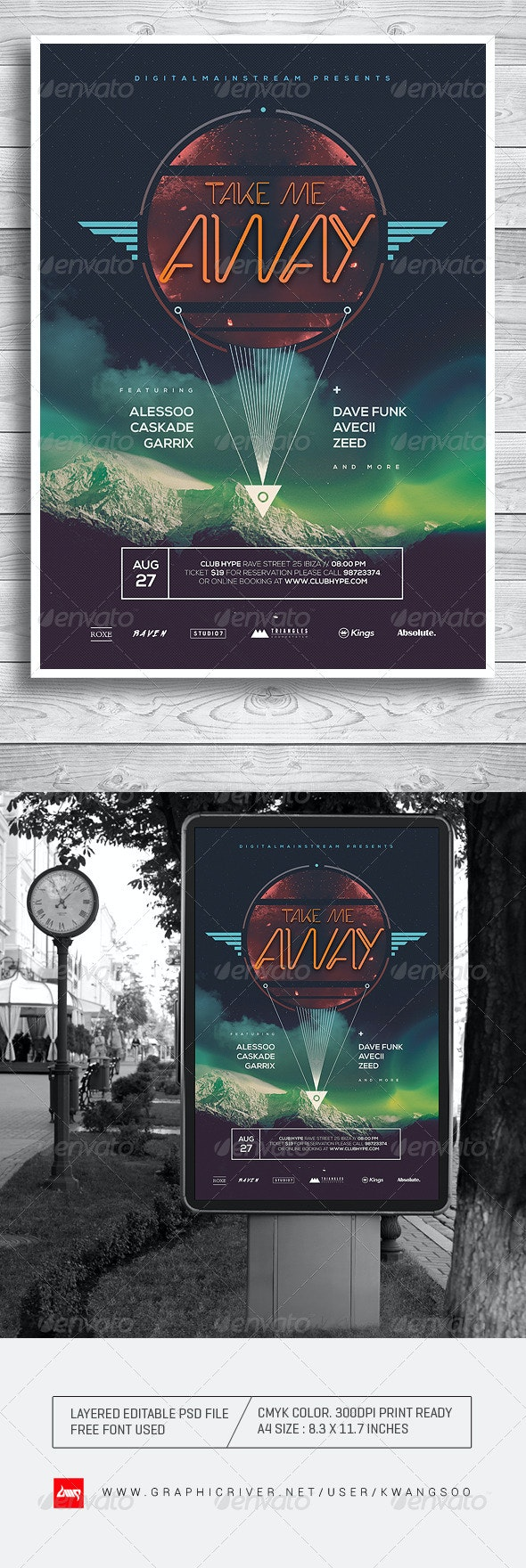 Take Me Away Electro Music Poster / Flyer - Clubs & Parties Events