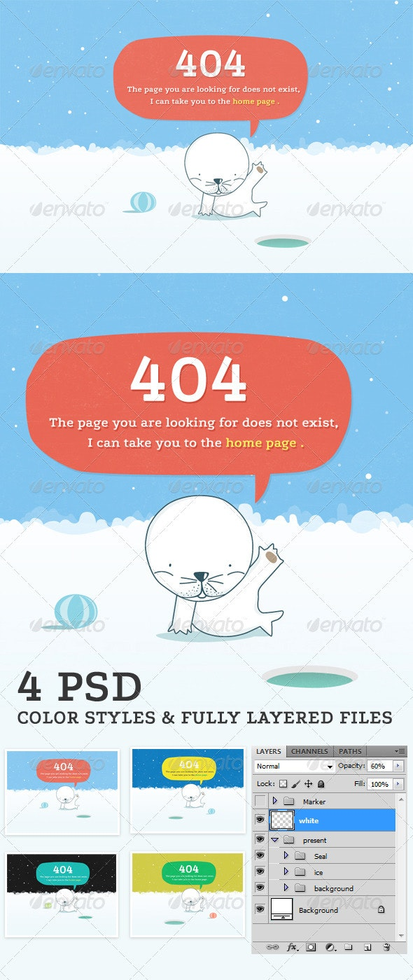 Seal-404 Error Page - 404 Pages Web Elements