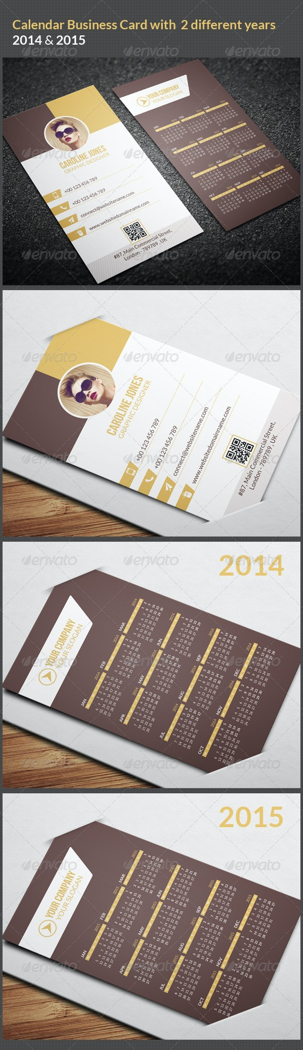 Calendar Business Card 2014 & 2015 - Business Cards Print Templates