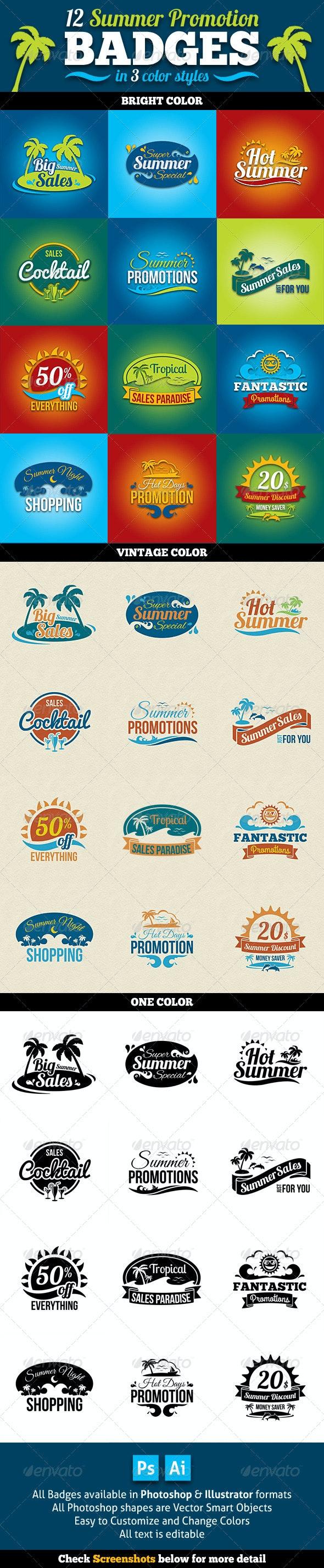 Summer Promotion Badges - Badges & Stickers Web Elements