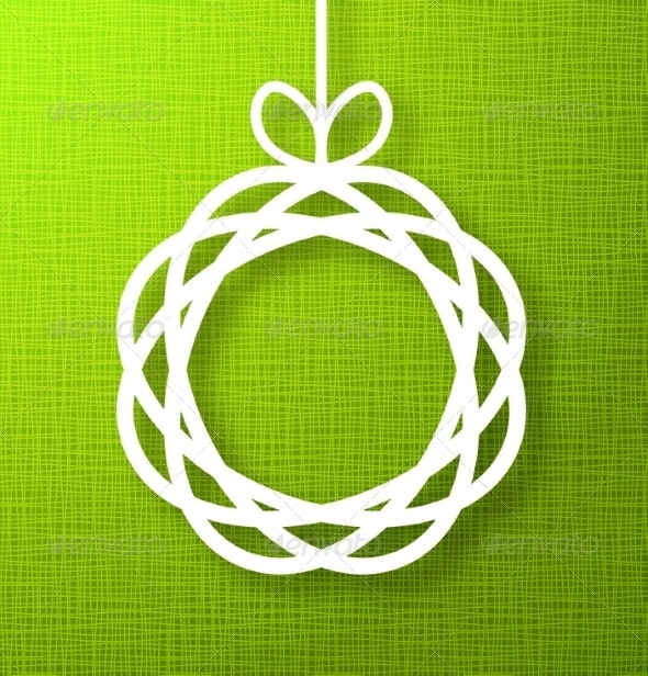 Circle Paper Applique on Green Background - Backgrounds Business