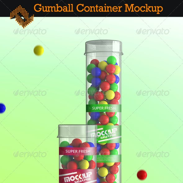 Clear Gumball Container Mockup