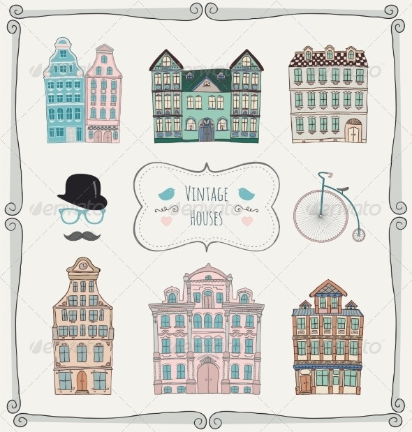 Vintage Old Styled Houses - Buildings Objects